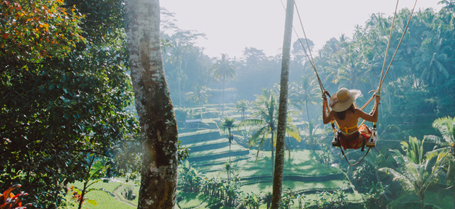 A view of a swing in Bali, which can be visited when you book a hotel or other accommodation with Flight Centre.