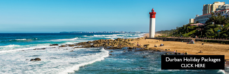 A view of Durban's coast, which can be visited with cheap holiday packages from Flight Centre.
