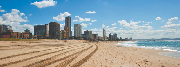 A view of Durban's beach, which can be enjoyed via a cheap flight with Flight Centre.