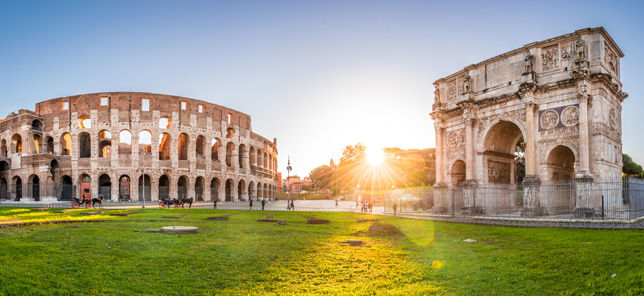 A view of the Colosseum in Rome, which can be visited when you book a hotel or other accommodation with Flight Centre.