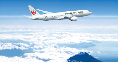 Japan Airlines over Mt Fuji