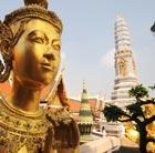 A large golden Buddha statue in Bangkok, which can be visited via a flight from Flight Centre.