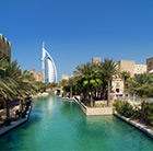 A view of a famous Dubai landscape, which can be visited via a cheap Flight from Flight Centre.