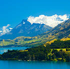 A view of New Zealand's mountainous landscape, which can be toured via a cheap flight from Flight Centre.