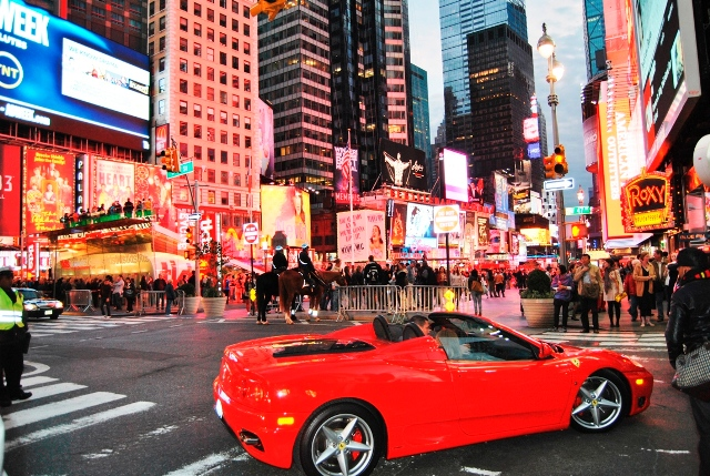 Times square with ferrari