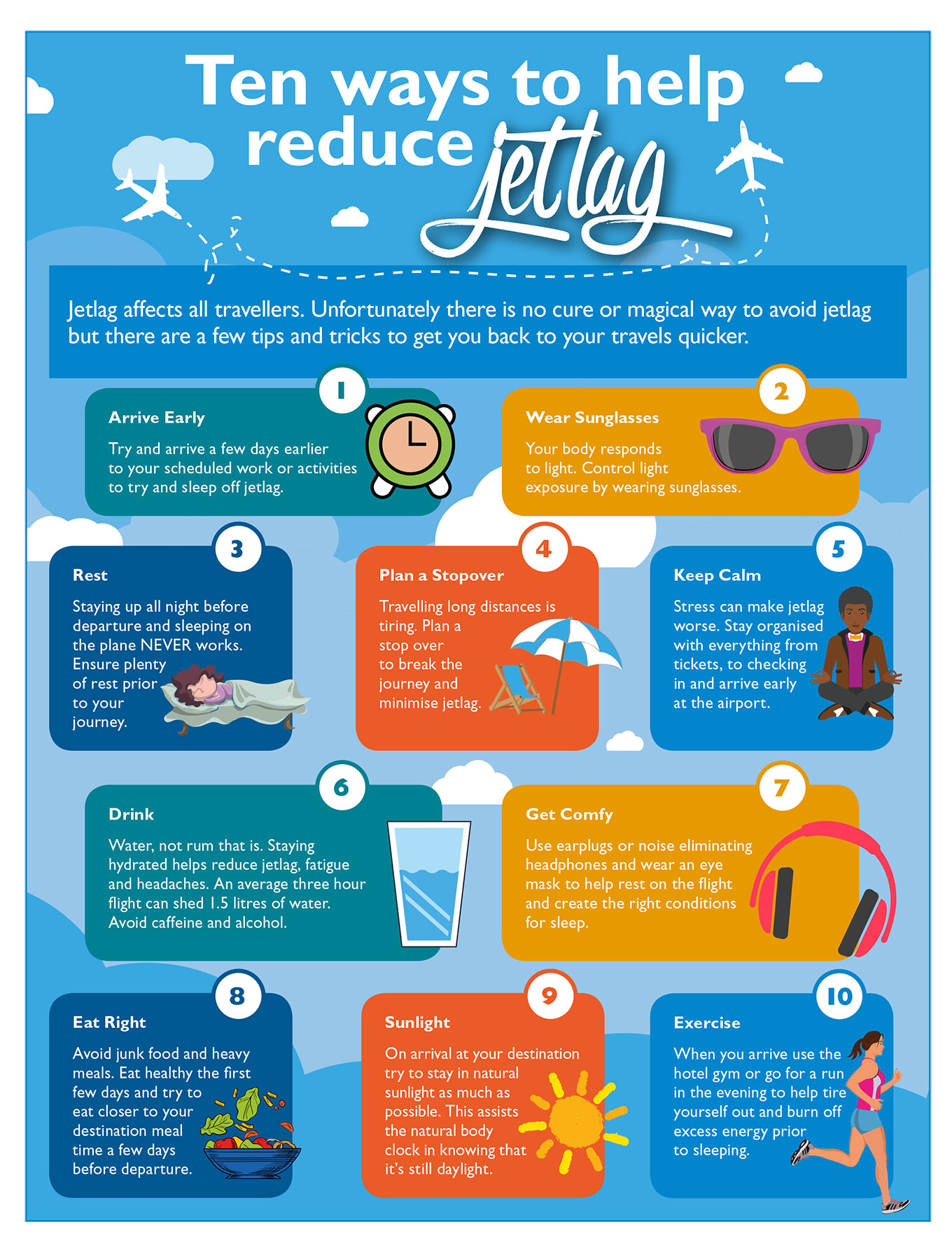 How to reduce jet lag.