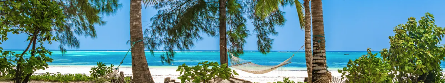 A view of a beach with white sand and lush greenery in Zanzibar, which can be visited via a cheap flight from Flight Centre.